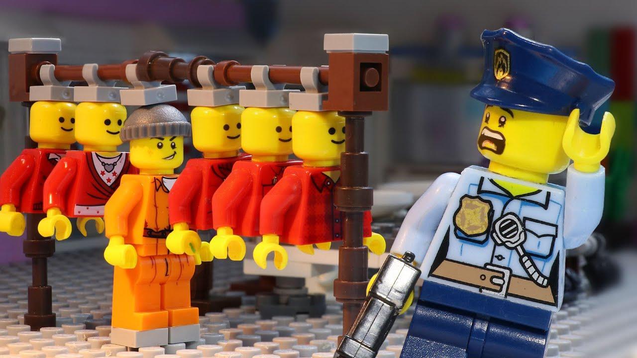 Lego Prison Break: Prisoner Hides from Police in Make Up Store (Lego Stop Motion)