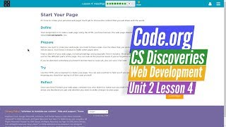 Headings Start Your Page Web Development 4.9 - Code.org CS Discoveries