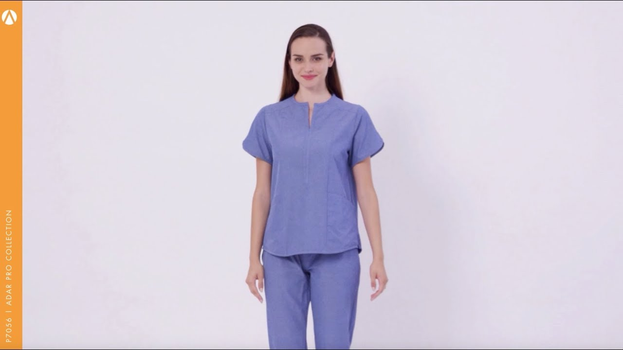 a6c10440d14 ADAR 7056 - Polished Melange Women's Tailored Notch Scrub Tops | SCRUBS.com