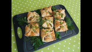 Конвертики с рыбой из слоеного теста ( Blätterteigtaschen mit Thunfisch )