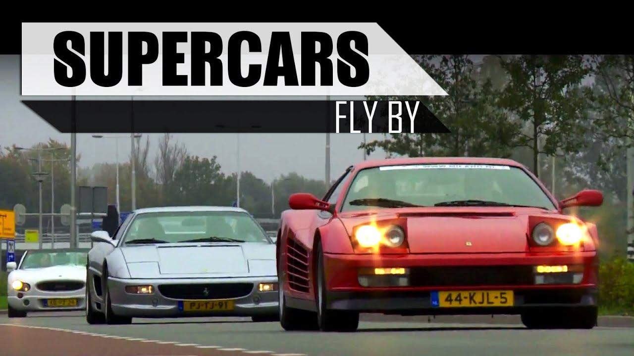 Ferrari Lamborghini Porsche Bugatti Veyron Corvette Z06 Fly By