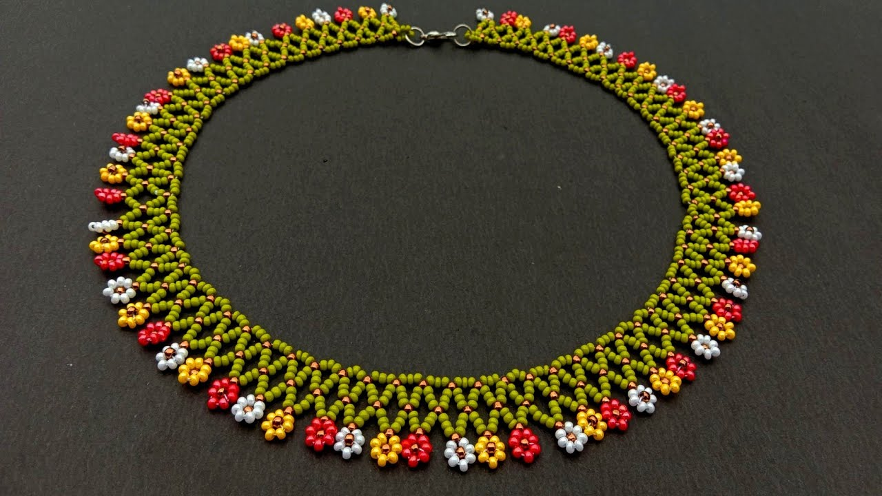 Download Beaded Flower Chain Necklace Tutorial For Begginers//Necklace Making// Useful & Easy