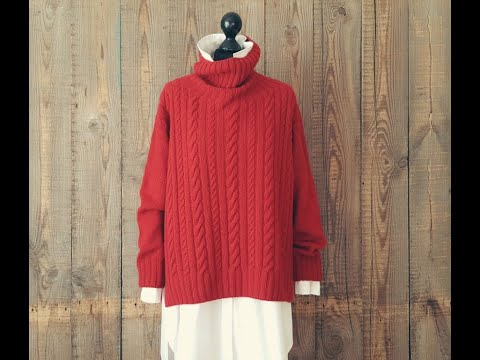 Красный свитер спицами для женщин