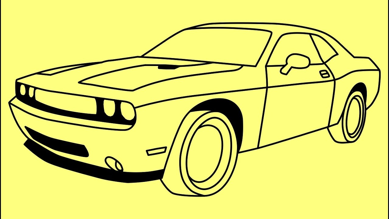 How To Draw Dodge Challenger Rt 2011 Kak Narisovat Dodzh Chelendzher
