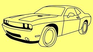 How to draw Dodge Challenger Rt 2011 - Как нарисовать Додж Челенджер - Cómo dibujar Dodge Challenger