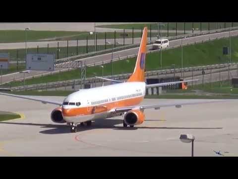 TUIfly (Hapag Lloyd Livery) Boeing B737-8K5 [D-ATUF] landing and taxing at Munich Airport (MUC/EDDM)