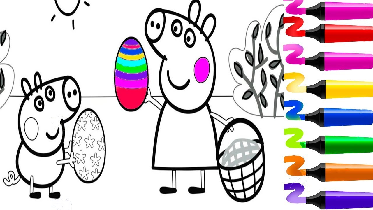 Coloriage Paques Peppa Pig.Coloriage Peppa Pig Coloriage Papa Pig Fete Paques Coloriage