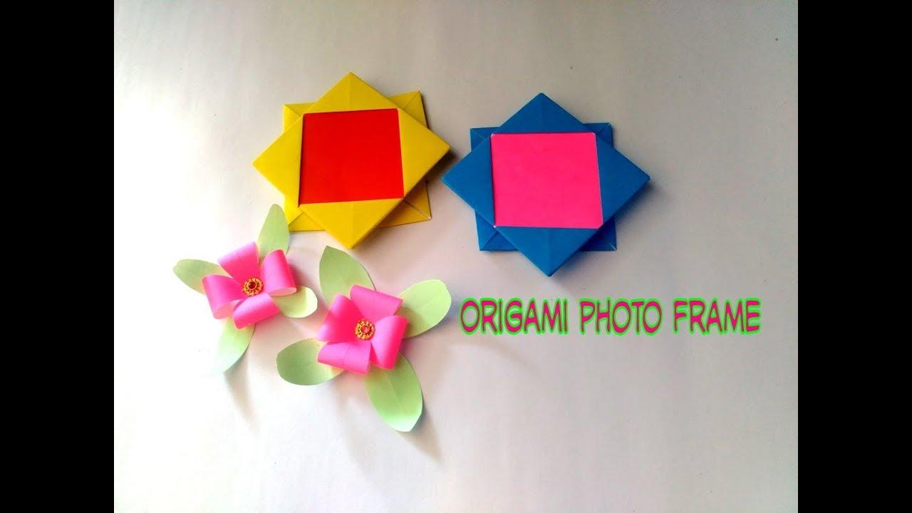 Diy Origami Photo Frame L Membuat Bingkai Foto Dari Kertas Origami Youtube
