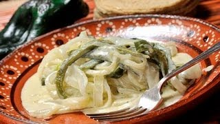 Rajas de chile poblano con queso - Chile Poblano Slivers with Cheese