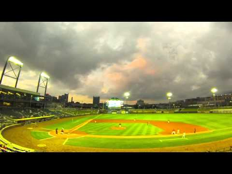 Time Lapse of a Cloudy Sunset over the Birmingham Barons at Regions Field