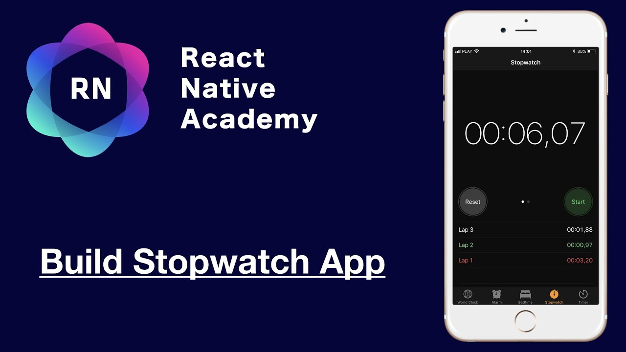 React Native Tutorial - Build a Complete Stopwatch App in 60 Minutes