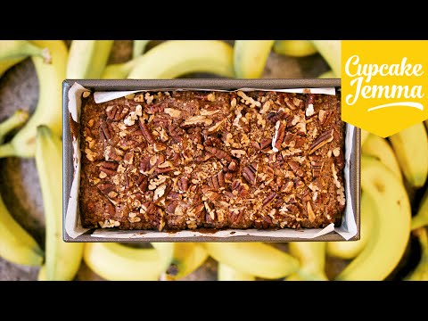 Save Crunchy Pecan Topped Banana Bread Recipe | Cupcake Jemma Pictures