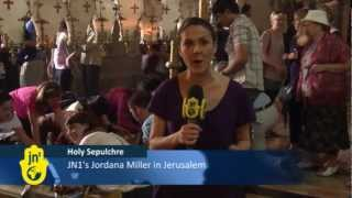 Christians in Israel for Palm Sunday 2012 Visit Church of Holy Sepulchre in Jerusalem