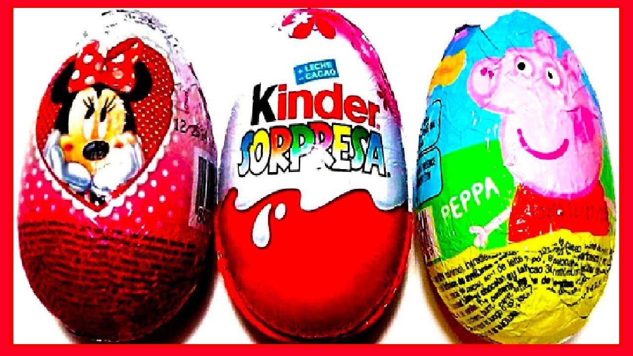 3 huevos sorpresa en espaol de chocolate de Peppa Pig Minnie Mouse y Kinder sorpresa  YouTube