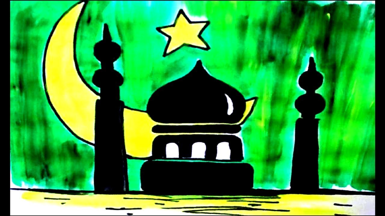 Special Eid Mubarak Drawing Step By Step For Kids Greeting Card