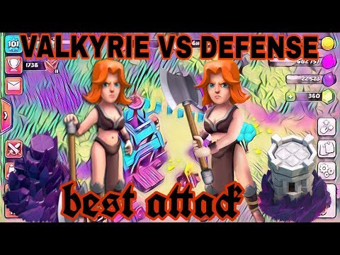 CLASH OF CLANS - VALKYRIE VS ALL DEFENSE | BEST ATTACK |2018 | BEST TH9 ATTACK