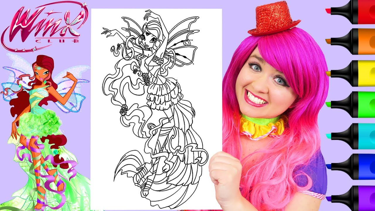 Coloring Winx Club Aisha Harmonix Fairy Coloring Page Prismacolor Markers |  KiMMi THE CLOWN
