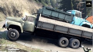 SPINTIRES 2014 - ZIL 133 + Full Trailer Transporting a B 130 and a Fuel Truck