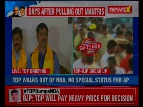 TDP leaders addresses the media in Delhi after exiting NDA, says 'BJP means 'Break Janta Promise'