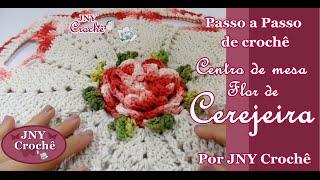 Centro de mesa de crochê Flor de Cerejeira por JNY Crochê