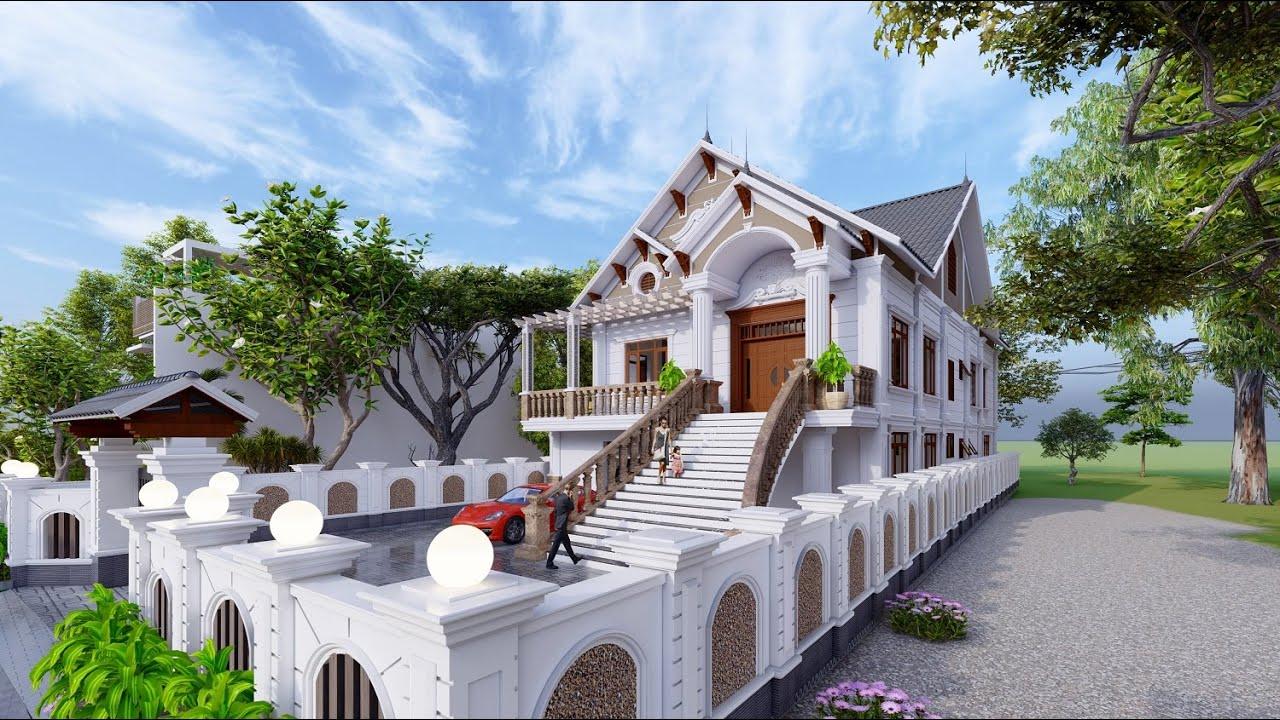 Mẫu Biệt Thự Nhà Vườn 2 Tầng Tân Cổ Điển Đẹp Kỳ Lạ Tại Khoái Châu Hưng Yên