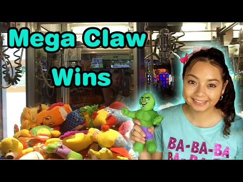 Mega claw machine wins at Dave and Busters  Claw Machine Wins  YouTube