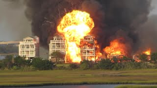 RAW VIDEO: Explosion during Surf City fire destroying 6 homes