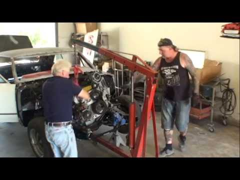 LS2 Engine SWAP-Part 3-Installing The Engine and Transmission In The Car