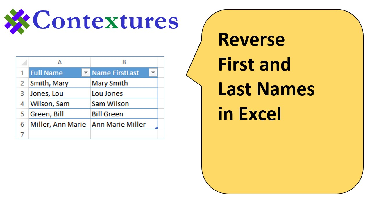 First And Last Name: Reverse First And Last Names In Excel