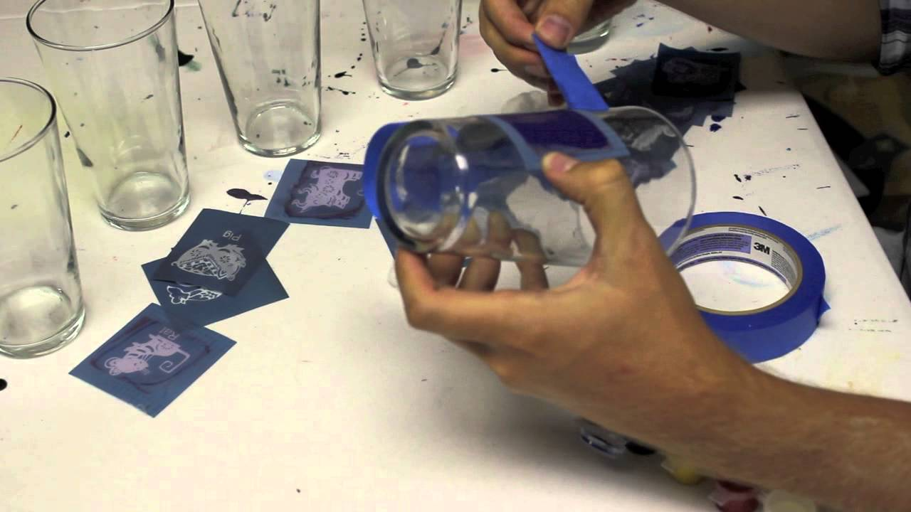 fun easy to screen print on glass at home youtube