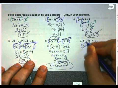 Honors Algebra 2 Unit 1 7.7 Solving Radical Equations - YouTube