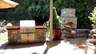 Granite Bay Outdoor Kitchen And Fireplace With Natural Stone Veneer By Gpt Construction