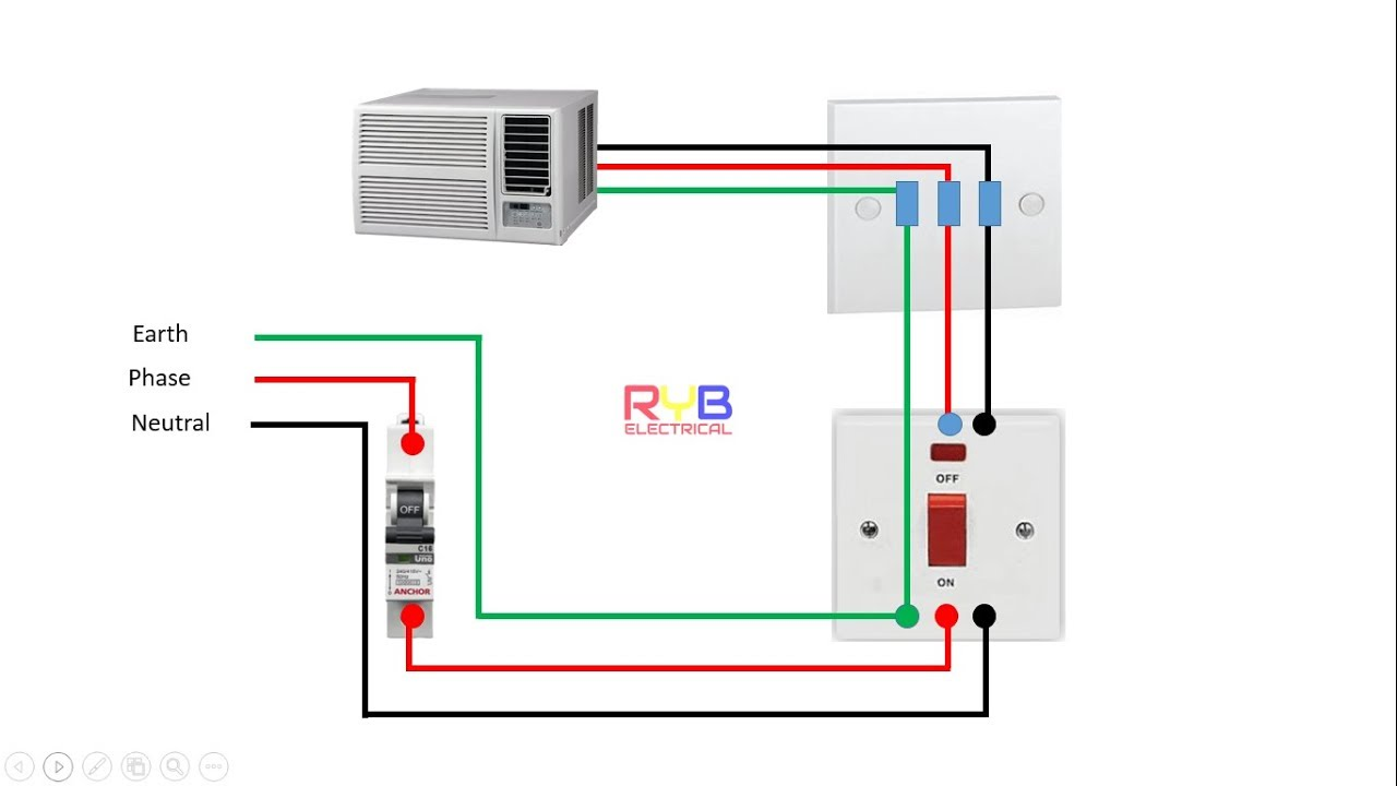 window ac wiring connection diagram RYB ELECTRICAL on