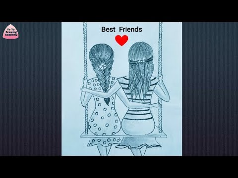 How to Draw Best friends Sitting Together on a Swing  || Pencil Sketch || Drawing for Beginners thumbnail