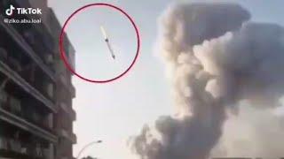 """تداول فيديو """"مفبرك"""" لصاروخ جوى قبل لحظات من انفجار مرفأ بيروت.. اعرف الحقيقة - فالصو"""