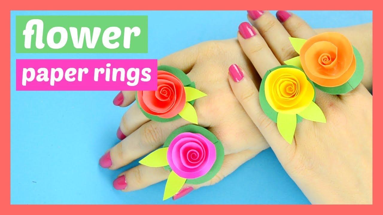 Diy Flower Paper Rings Spring Craft For Kids Youtube