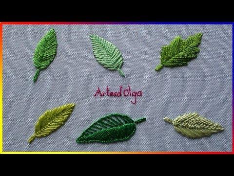 6 Leaf Embroidery Stitches - Step By Step   6 Puntadas Básicas Para Bordar Hojas   Artesd'Olga