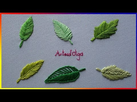 6 leaf embroidery stitches - Step by step  6 puntadas básicas para bordar hojas  Artesd&39;Olga