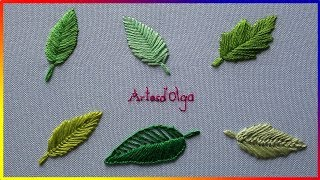 6 pontos básicos para fazer bordados de folhas