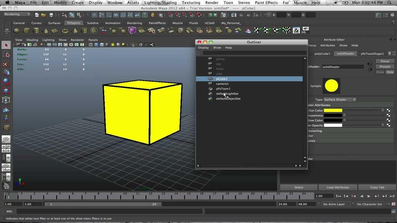 Applying 2D Toon Shader In Maya 2012