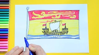 How to draw and color the Flag of New Brunswick, Canada