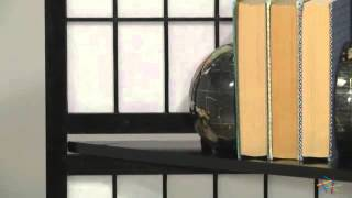 Black Shoji 4-panel Screen Room Divider With Display Shelves - Product Review Video