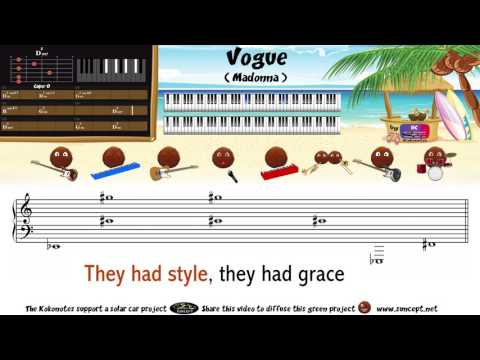 How to play : Vogue (Madonna) - Tutorial / Karaoke / Chords / Score / Cover