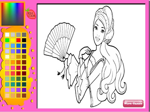 Barbie Coloring Pages For Girls Barbie Coloring Pages Games YouTube