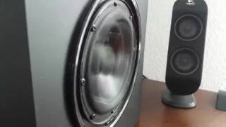 Logitech X-230 Subwoofer BASS TEST at MAXIMUM EXCURSION