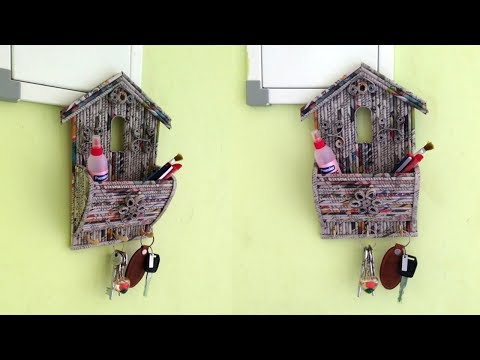 How to make wall mount key holder with Organizer using Newspaper | All type videyos