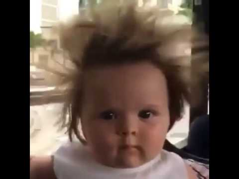 cute baby with crazy hair funny