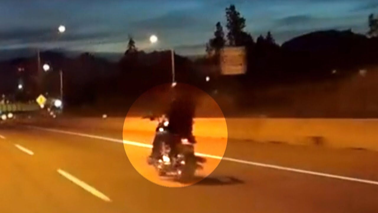 Caught On Camera Motorcyclist Drives One Handed To Avoid Toll Youtube