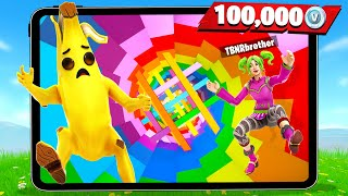 Fortnite MOBILE vs PC with My Little Brother! (Rainbow Dropper Challenge)