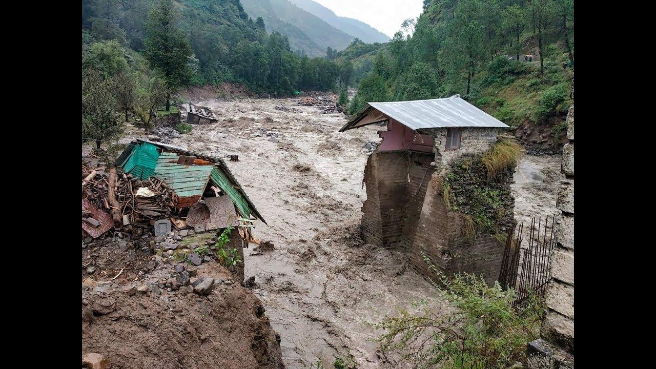 Kangra flash flood, floods in India, Kullu flood Himachal Pradesh कांगड़ा, कुल्लू - YouTube